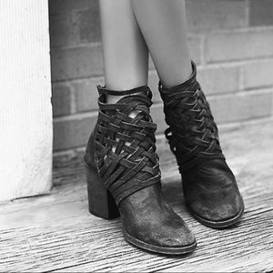 Free People 'Carrera' Strappy Heel Leather Bootie